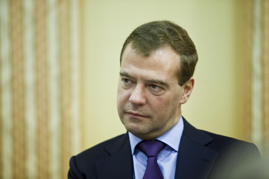 Russlands statsminister Dmitrij Medvedev anklager USA for økonomisk krigføring. Foto: Sara Johannessen / NTB scanpix