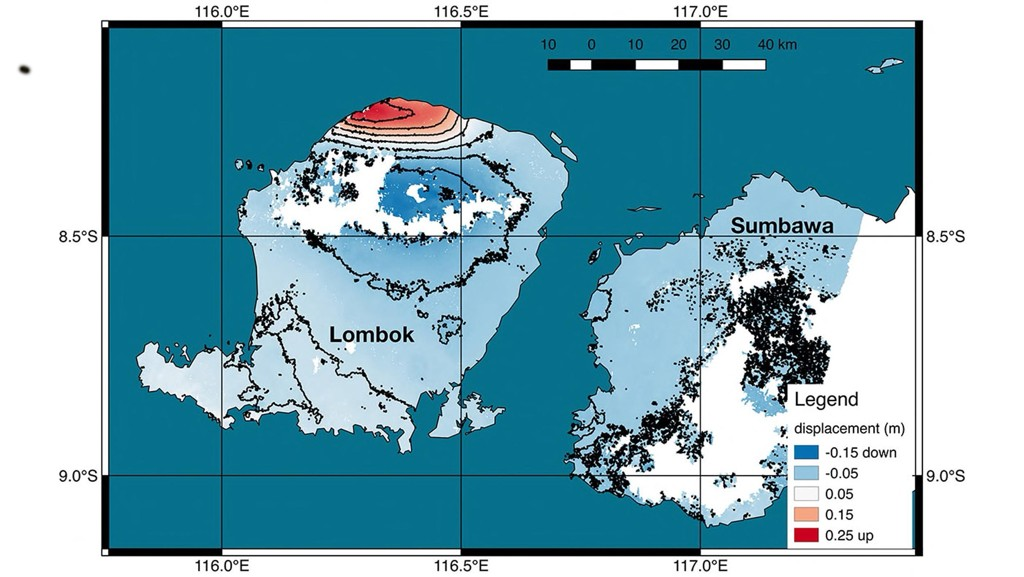 Grafikk fra NASA som illustrerer endringer i overflaten på Lombok etter jordskjelvet sist søndag. Illustrasjon: NASA / JPL-Caltech / Copernicus / ESA / AP / NTB scanpix