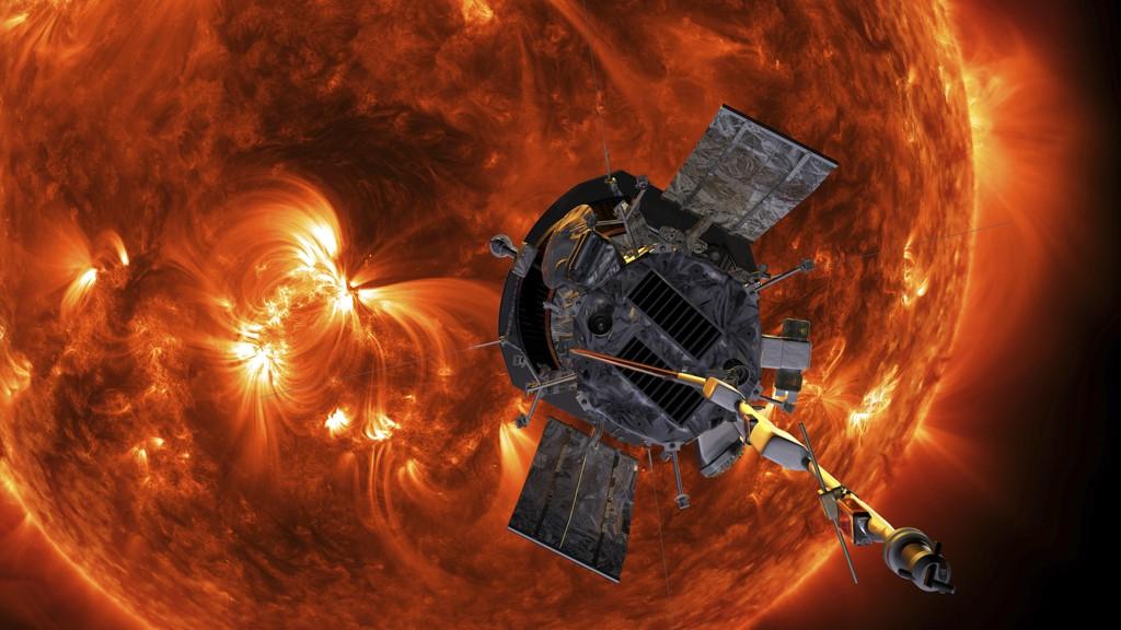 Romsonden Parker skal etter planen bevege seg nærmere sola enn noe annet romfartøy. Dette bildet er ment som en illustrasjon av forholdene i solas ytre atmosfære. Foto: Steve Gribben/Johns Hopkins APL/NASA via AP/NTB scanpix