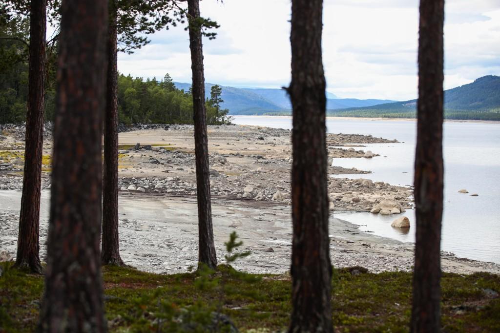 LITE VANN I MAGASINENE: Tørken har gjort at vannstanden er lav her i Pålsbufjorden og i andre oppdemmede vann i Norge.