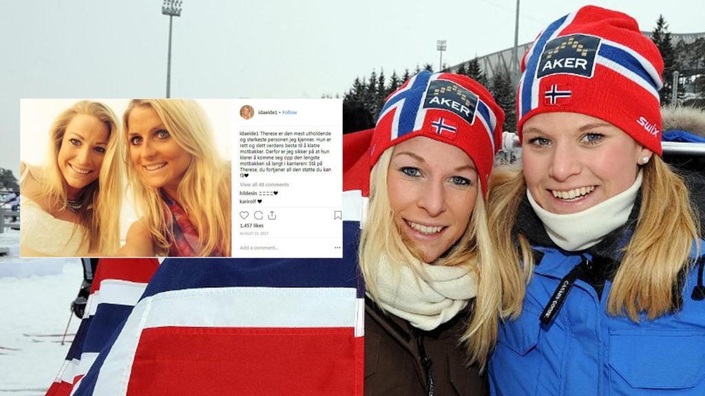 Søstrene Ida og Mari Eide avbildet under VM på ski i Oslo i 2011. Ida Eide (30) omkom etter Norgesløpet. Ida Eide var en svært god venninne av Therese Johaug.
