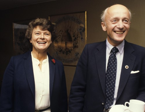 Gro Harlem Brundtland og Kåre Willoch før stortingsvalget i 1981.
