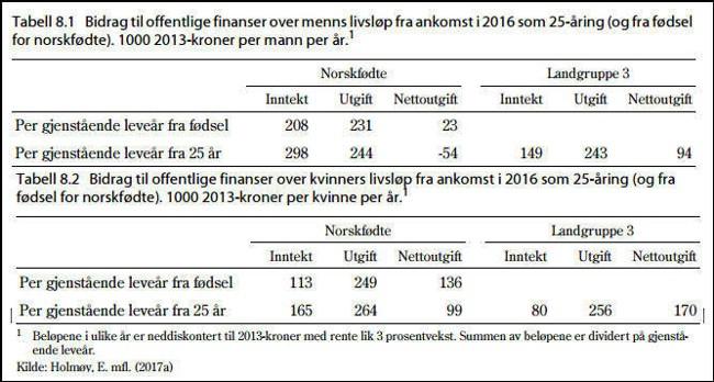 En oversikt fra Brochmann-utvalget som viser at en mannlig 25-åring som kommer til Norge i gjennomsnitt koster 94.000 kroner i året resten av livet, mens det samme tallet for kvinner er 170.000 kroner.