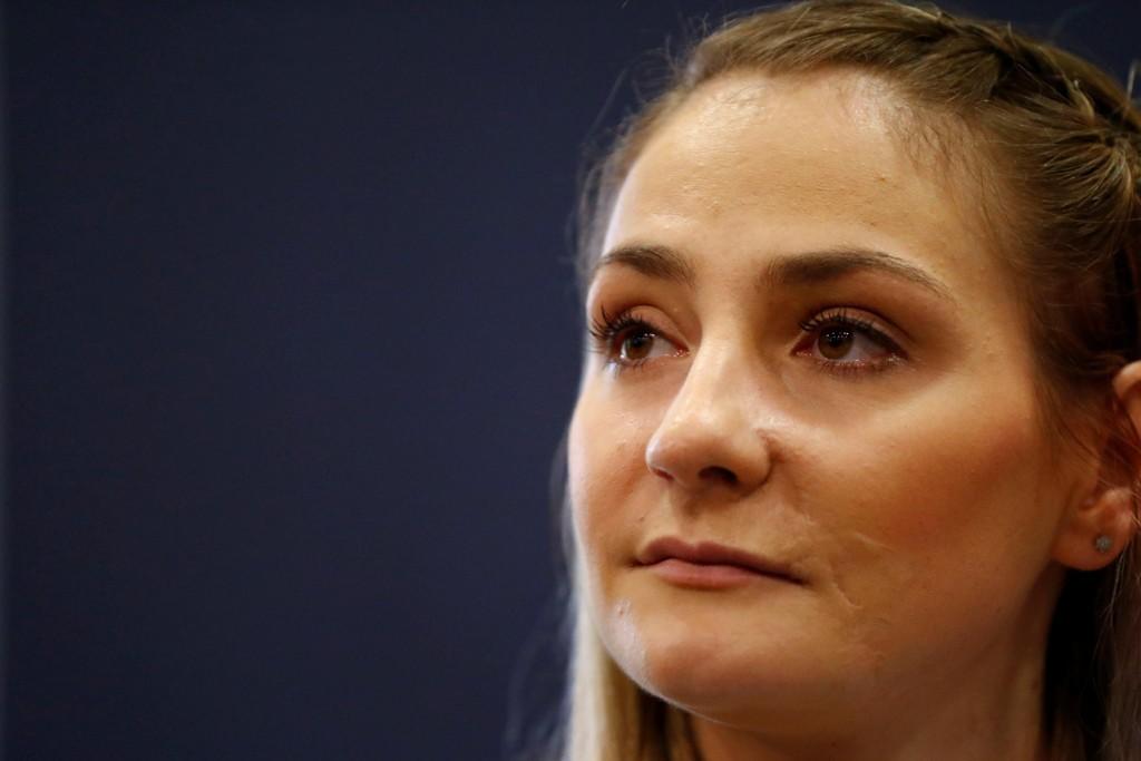 LAM: Tidligere OL-gullmedaljør Kristina Vogel møtte pressen og snakket om ulykken onsdag.
