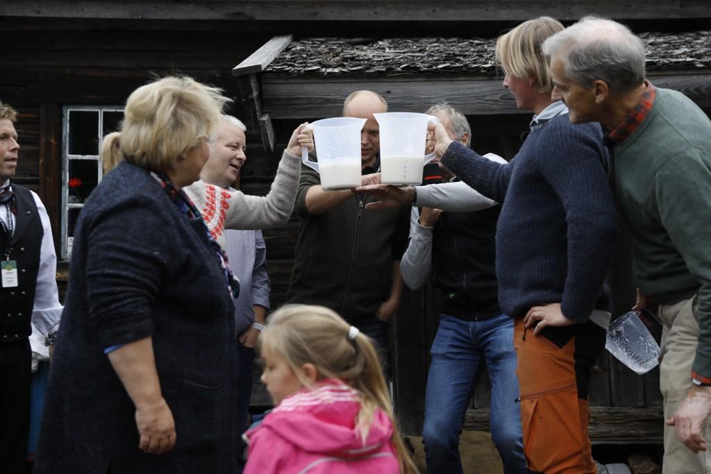 Det ble jevnt mellom de to lagene under melkekonkurransen under Dyrsku'n fredag, men Erna Solberg måtte se seg slått av Jonas Gahr Støre (til høyre) og Petter Pilgaard. Foto: Tore Meek / NTB scanpix