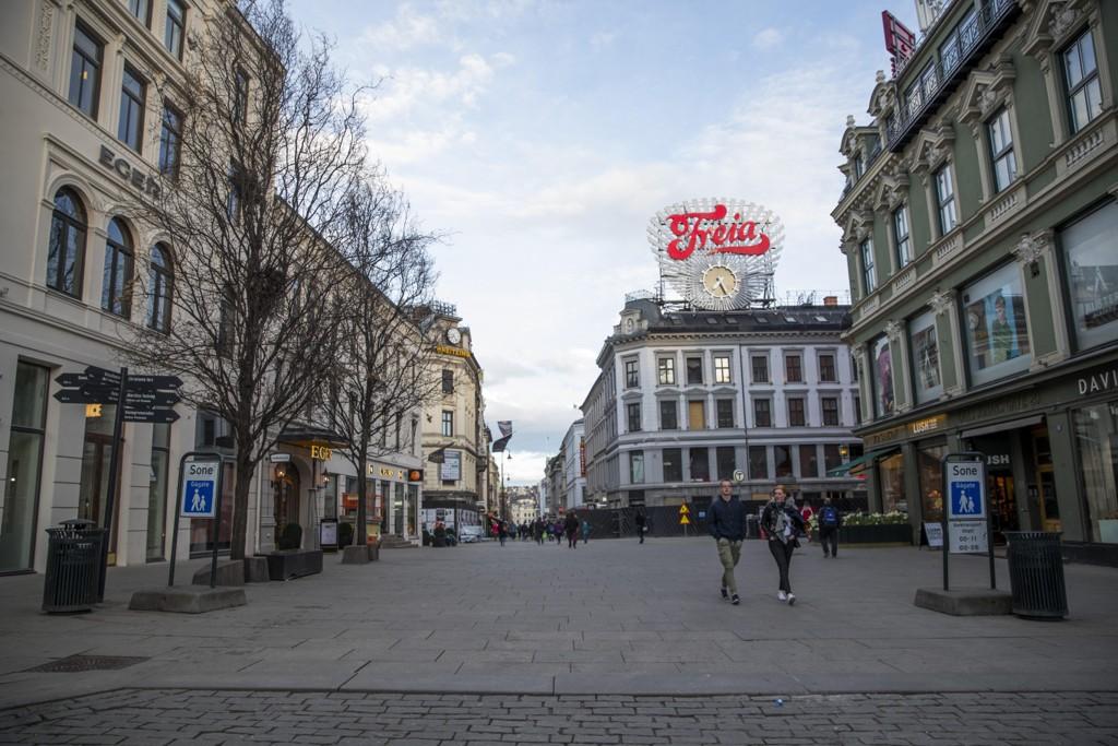 FÆRRE BESØKENDE: Så langt i år er en halv million personer borte fra Promenaden-området, den sentrale delen av Karl Johan, og et av Norges største handleområder.