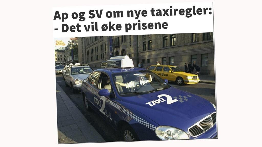 MYTER: Venstresiden tror at fri etablering og flere drosjer vil gi høyere priser. Det er å tro at regnet skal begynne å regne oppover.