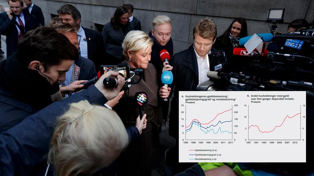 Finansminister Siv Jensen og regjeringen er svært bekymret for at både norske familier og bedrifter har tatt opp svært mye lån i perioden hvor rentene har vært lave. Før rentehevingene nå slår inn, er belastningen på et historisk høyt nivå.