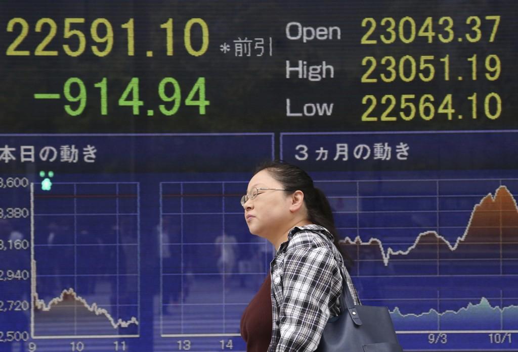 Nikkei-indeksen falt med hele 3,96 prosent etter børsraset på Wall Street dagen før. Foto: AP / NTB scanpix.