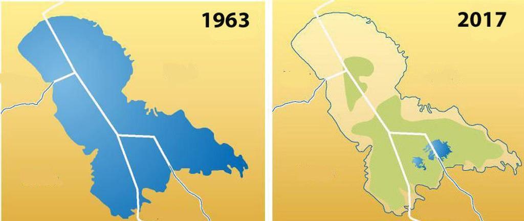 UTVIKLING: Tsjadsjøen har krympet med 95 prosent på femti år.