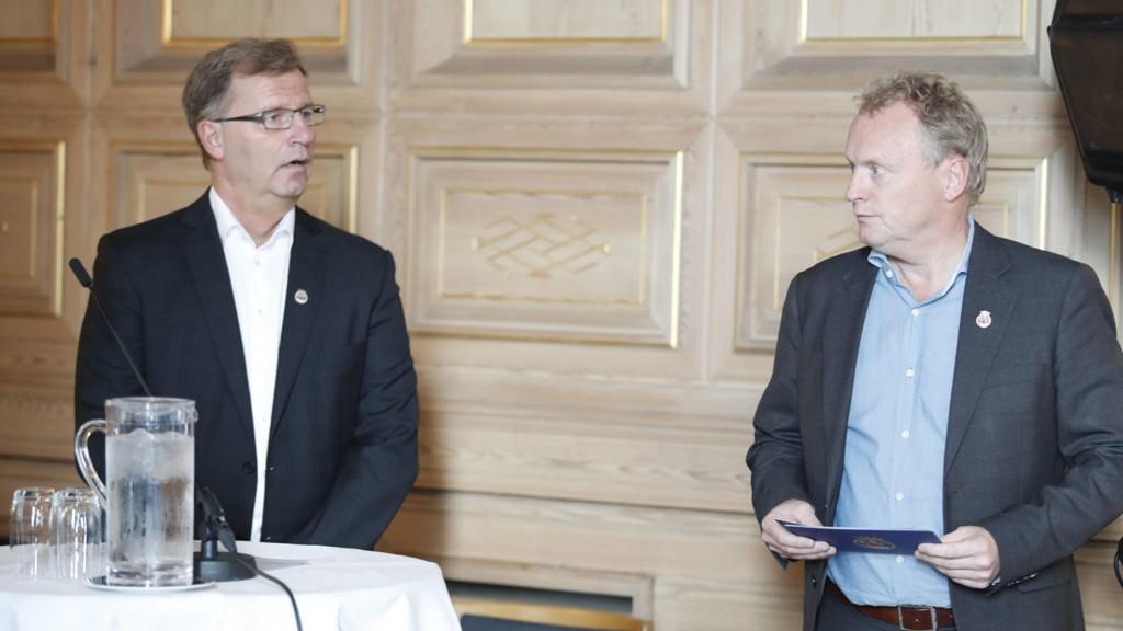 ULOVLIG: Byrådsleder Raymond Johansen og finansbyråd Robert Steen må betale tilbake ulovlig innkrevd eiendomsskatt, ifølge en fersk dom i Lagmannsretten.