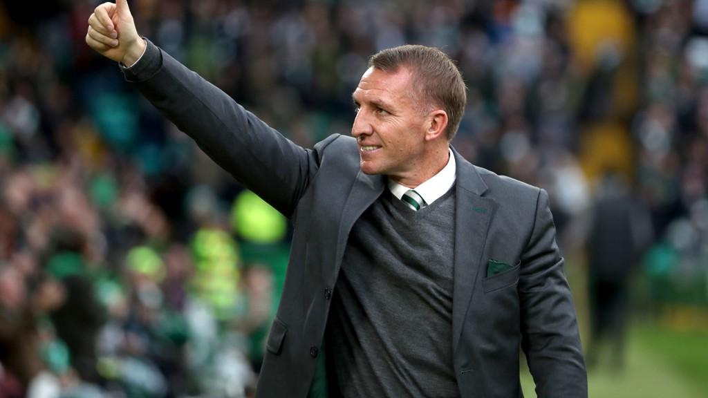 En meget fornøyd Brendan Rodgers etter at Celtic knuste serieleder Hearts 5-0 hjemme på Celtic Park i helgens seriekamp i Skottland.