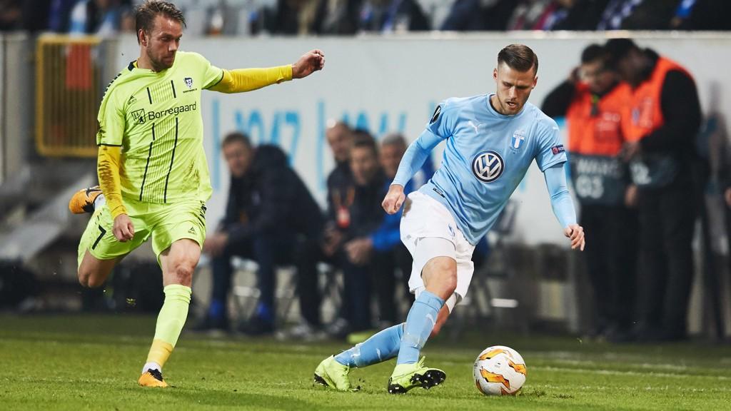 KJEMPET IHERDIG: Ole Jørgen Halvorsen og Sarpsborg 08 spilte en ny god kamp i Europa League torsdag.