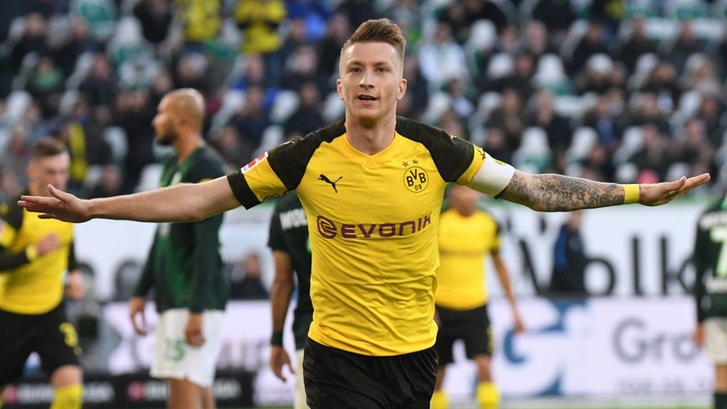 Marco Reus har vært strålende for Dortmund denne sesongen og stått for seks seriemål. Her jubler han etter å ha scoret seiersmålet borte mot Wolfsburg sist lørdag.