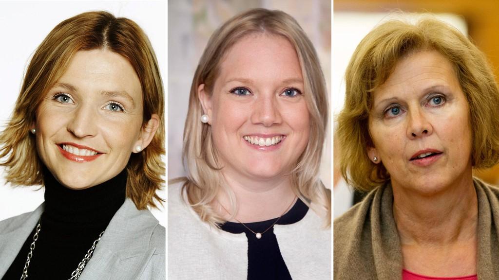 KVINNEKAMP: Tone Liljeroth (t.v), Aina Stenersen og Camilla Wilhelmsen kjemper alle om førsteplassen på Oslo Frps valgliste foran neste års kommunevalg. Mandag kveld blir valget tatt.