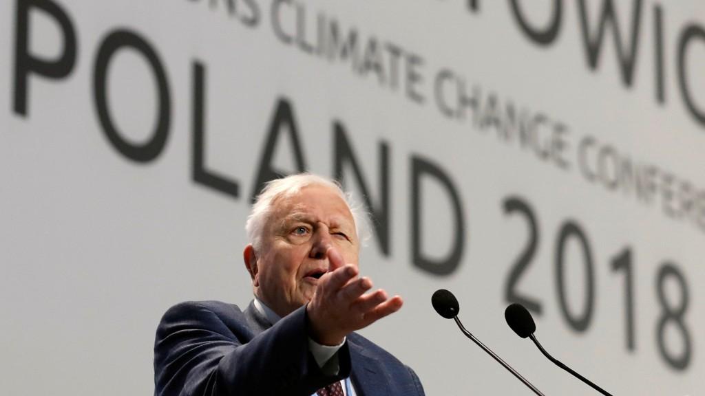 ADVARTE: Sir David Attenborough under talen på COP24-konferansen i Polen mandag.
