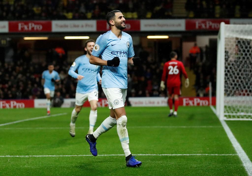 SCORET: Riyad Mahrez satte inn Manchester Citys andre mål mot Watford.