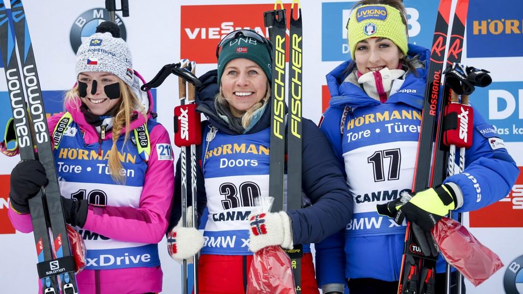 55d74614 Norges skiskytterjenter tar sesongens første stafettseier