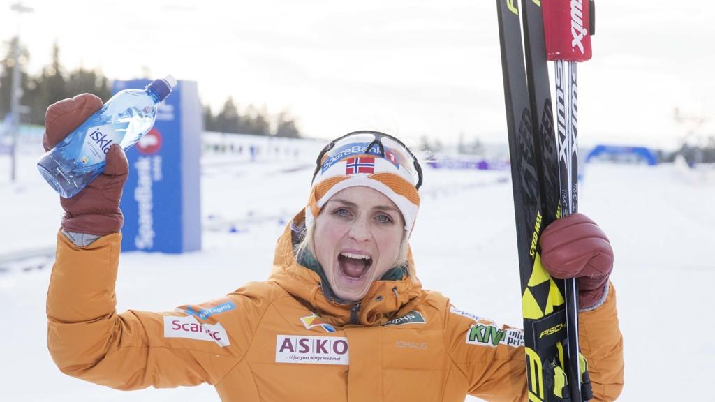 Therese Johaug er storfavoritt til VM-gull på lørdagens skiathlon. Her jubler Therese etter å ha knust konkurrentene i 15 km skiathlon under NM på ski i Meråker.