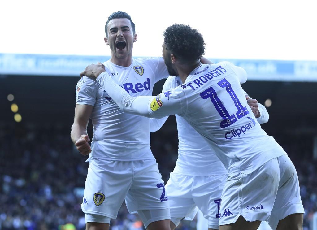 Leeds United og Jack Harrison (t.v.) vant bortekampen mot Derby 1-0. De er ikke avhengig av å vinne onsdagens playoffmatch.