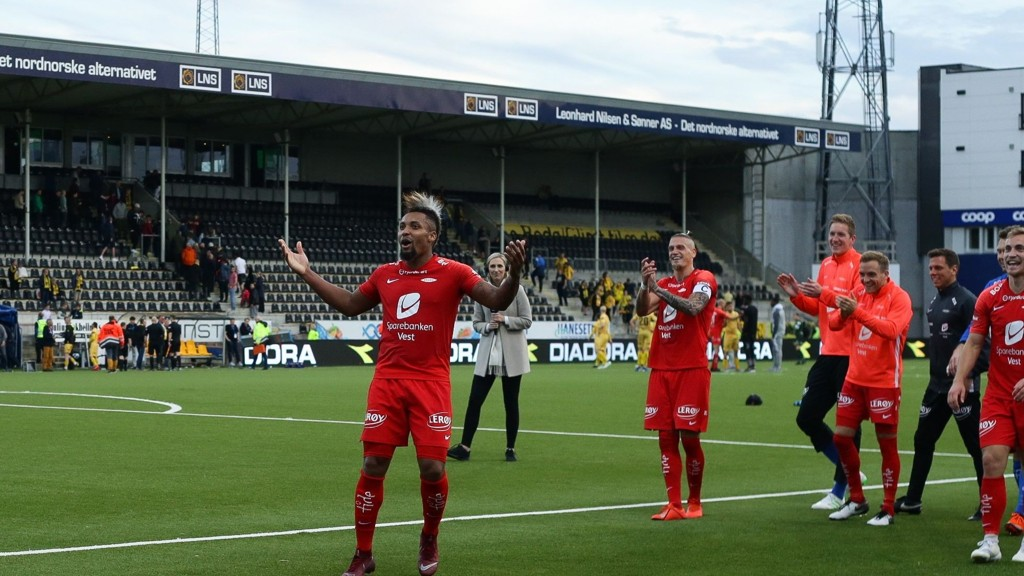 Branns Bismar Acosta scoret et fantastisk mål da Brann slo Bodø/Glimt 2-1 i sin siste bortekamp i Eliteserien. Foto: Mats Torbergsen / NTB scanpix
