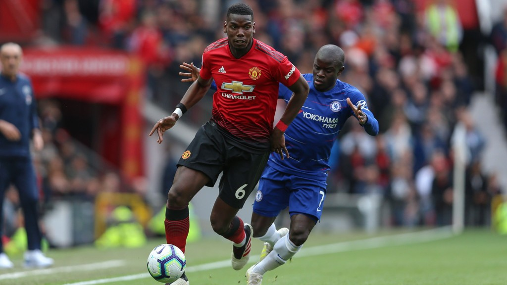 Paul Pogba of Manchester United runs with the ball during the Premier League match at Old Trafford, Manchester. Picture date: 28th April 2019. Picture credit should read: James Wilson/Sportimage via PA Images