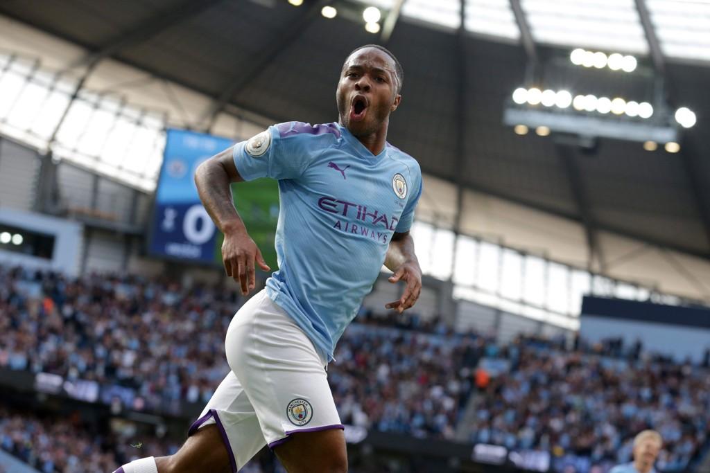 Raheem Sterling jubler etter scoringen sin mot Tottenham i forrige serierunde. Han har scoret fire mål i de to første Premier League-kampene for City.