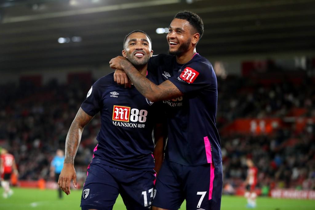 Callum Wilson feirer Bournemouth sin tredje scoring mot Southampton sammen med den norske landslagsspissen Joshua King.