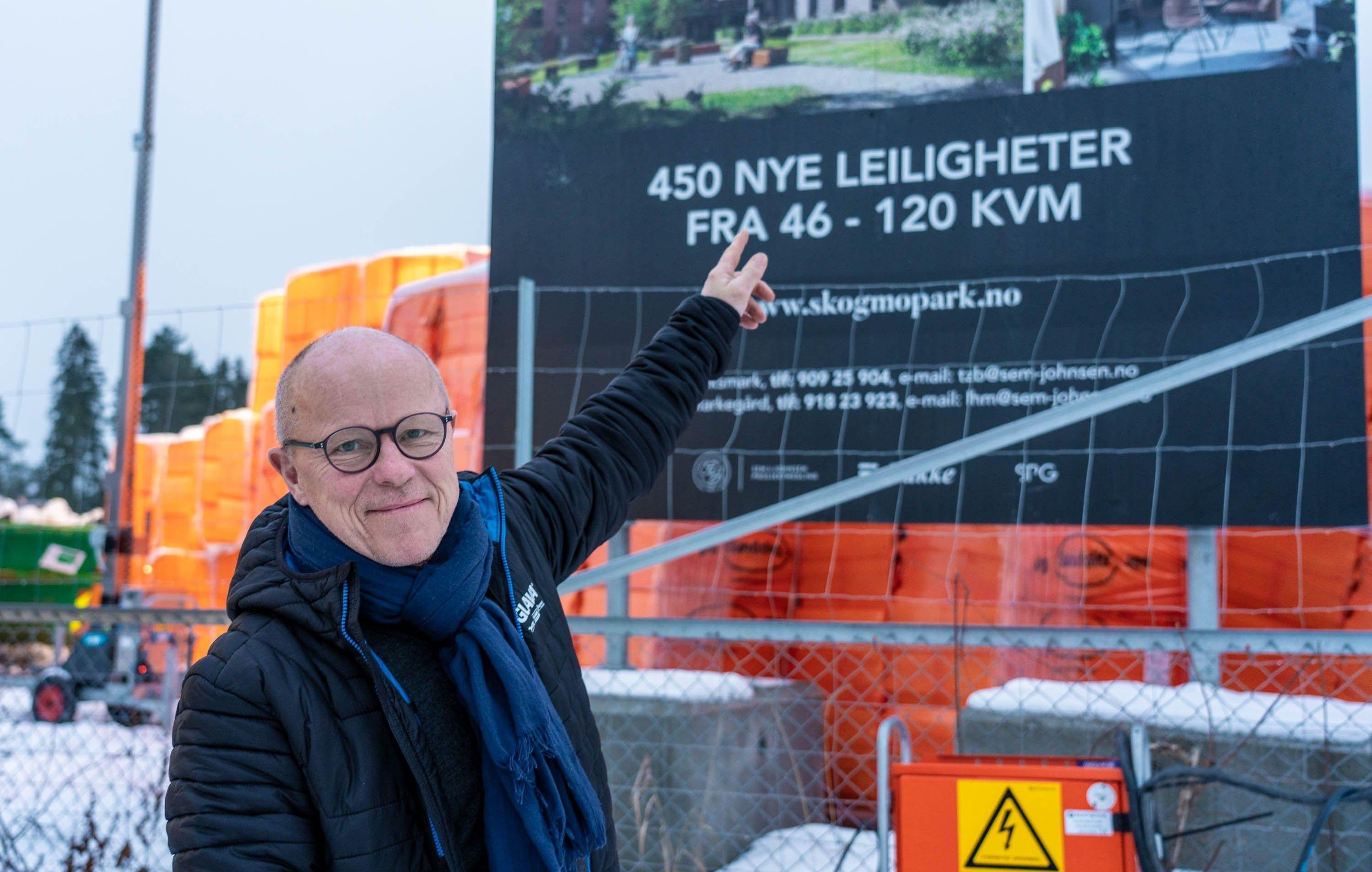 Totalt 450 nye leiligheter skal bygges på Skogmo Park. Stein Borgen har kjøpt en av dem.